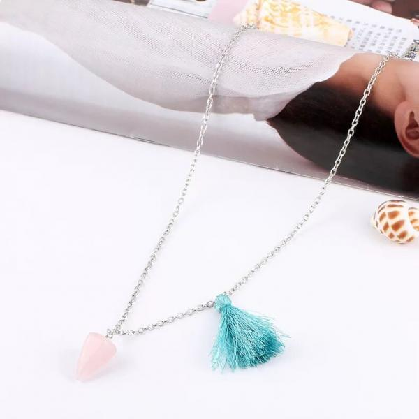women fashion Natural jade triangle cone energy Necklace Turquoise retro necklace